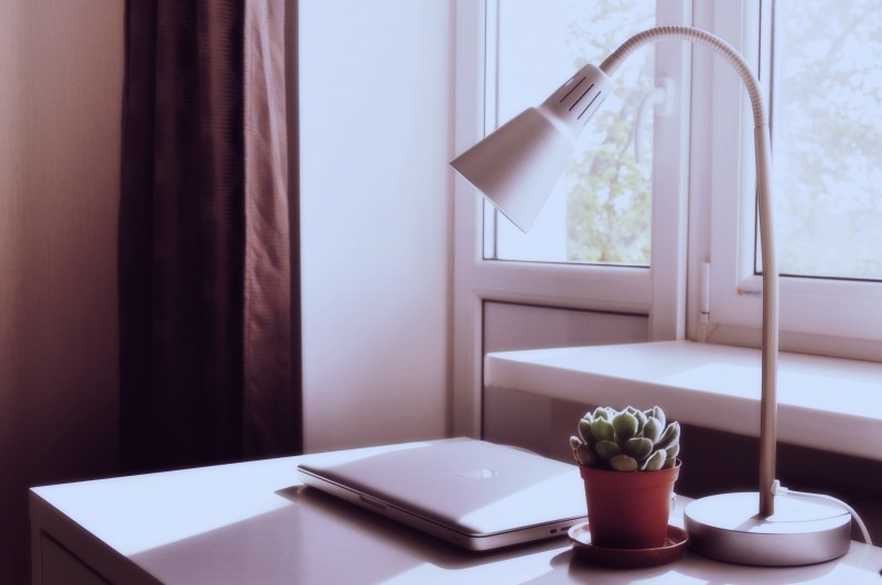 laptop-with-potted-plant-and-lamp-on-wooden-table